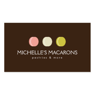 FRENCH MACARON TRIO LOGO 2 for Bakery, Pastry Chef Double-Sided Standard Business Cards (Pack Of 100)