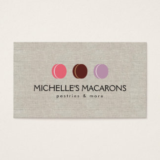 FRENCH MACARON TRIO LOGO 3 on Faux Linen Business Card