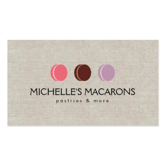 FRENCH MACARON TRIO LOGO 3 on Faux Linen Double-Sided Standard Business Cards (Pack Of 100)