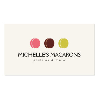 FRENCH MACARON TRIO LOGO for Bakery, Pastry Chef Double-Sided Standard Business Cards (Pack Of 100)