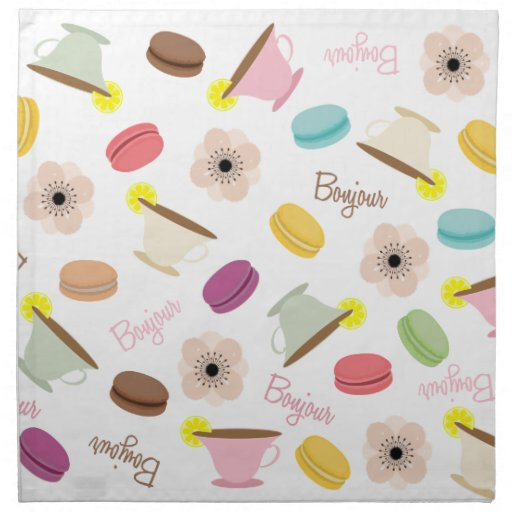French Macarons Anemones & Teacups Dinner Napkins