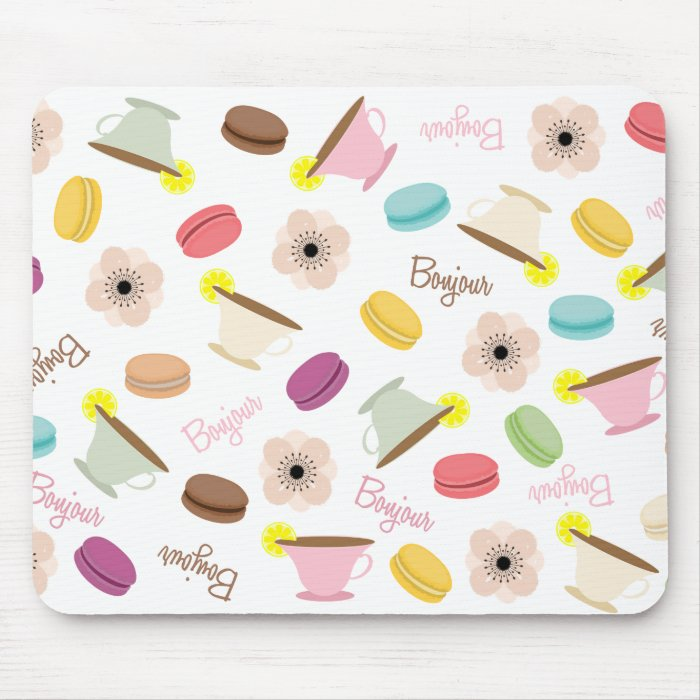 French Macarons Anemones & Teacups Mousepad