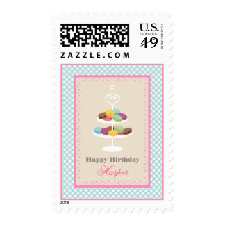 French Macarons Birthday - Blue Gingham Stamps