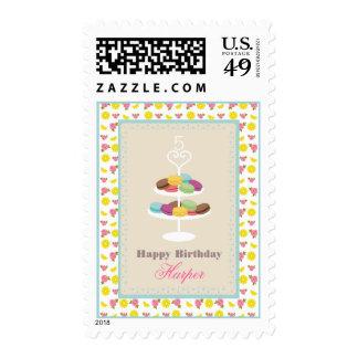 French Macarons Birthday - Lemons + Roses Postage Stamp