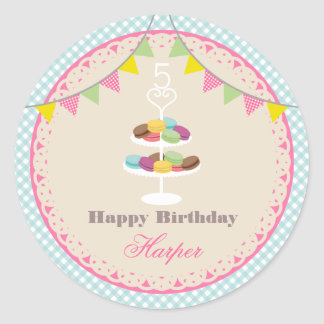 French Macarons Birthday Party Blue Gingham Classic Round Sticker
