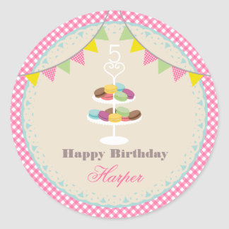 French Macarons Birthday Party Pink Gingham Classic Round Sticker