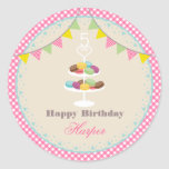 French Macarons Birthday Party Pink Gingham Round Sticker