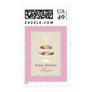 French Macarons Birthday - Pink Gingham Stamp