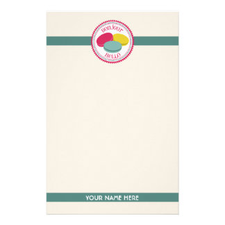 French Macarons Bonjour Hello Personalized Stationery