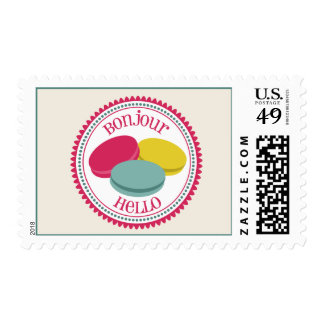 French Macarons Bonjour Hello Stamps