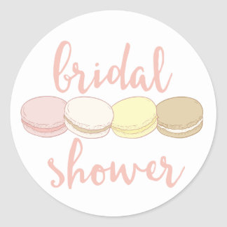 French Macarons Bridal Shower Classic Round Sticker