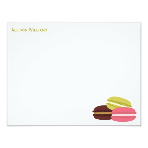 """French Macarons Custom Note Cards 4.25"""" X 5.5"""" Invitation Card"""