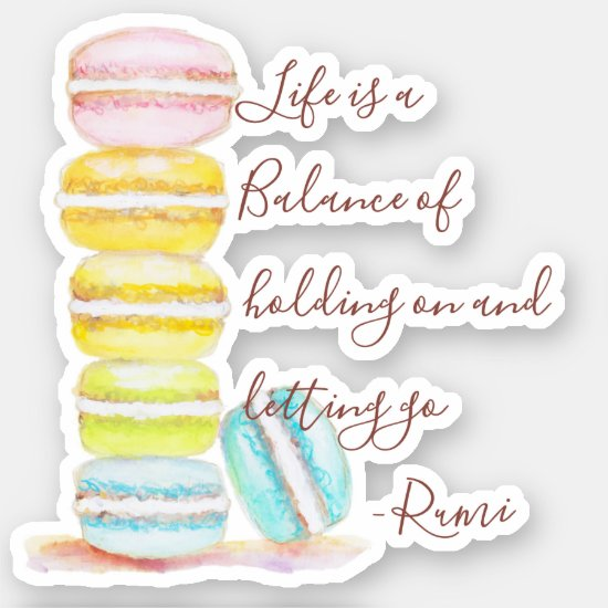 French Macarons Hand Painted Pastel Rainbow Quote Sticker