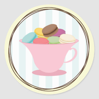French Macarons In Pink Tea Cup Sticker