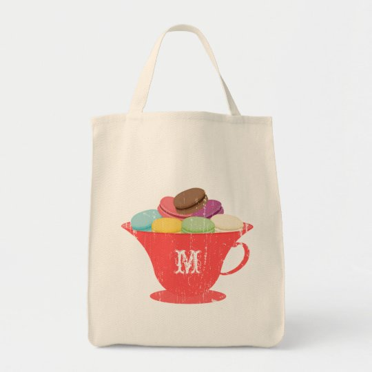 French Macarons in Red Teacup Monogram Bag