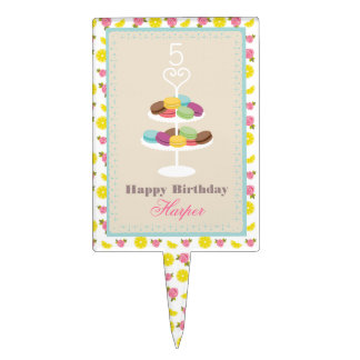 French Macarons Lemons + Roses Birthday Cake Pick