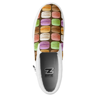 French Macarons, Multi-Colored Pastels Slip-On Sneakers