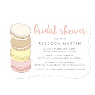 French Macarons | Pastel Bridal Shower 5x7 Paper Invitation Card
