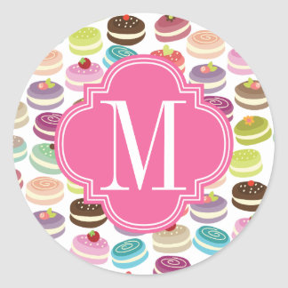 French Macarons Personalized Classic Round Sticker