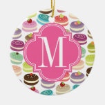 French Macarons Personalized Double-Sided Ceramic Round Christmas Ornament