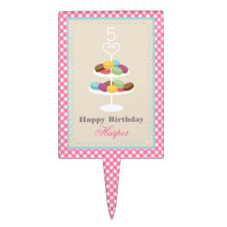 French Macarons Pink Gingham Birthday Cake Pick