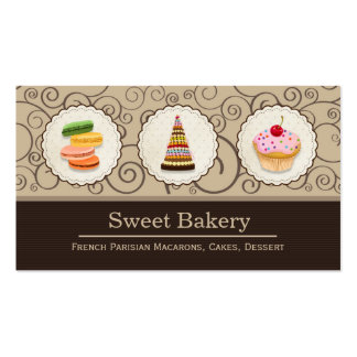 French Macaroons Cupcake Dessert Bakery Store Business Card