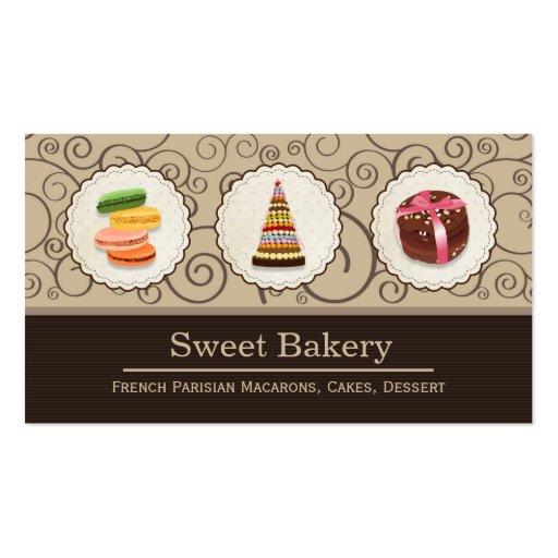 French Macaroons - Custom Dessert Bakery Store Business Card Template