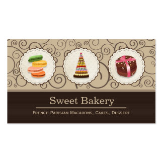 French Macaroons - Custom Dessert Bakery Store Double-Sided Standard Business Cards (Pack Of 100)