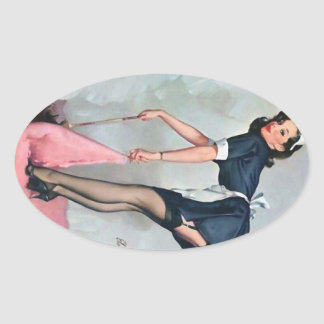 French Maid Sweeping Pin Up Oval Sticker