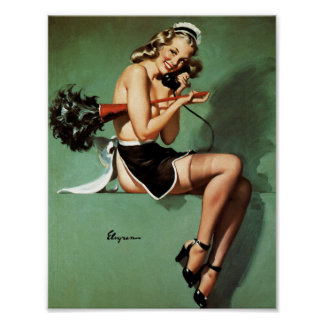 French Maid with Duster Pin Up Poster