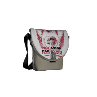 French Mail Art Heart & wings Messenger Bag