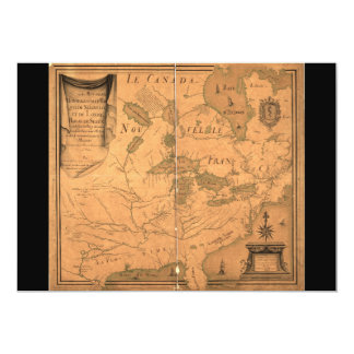 French Map of North America by Franquelin (1685) 5x7 Paper Invitation Card