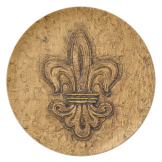 French Mardi Gras Fleur De Lis New Orleans Texture Melamine Plate
