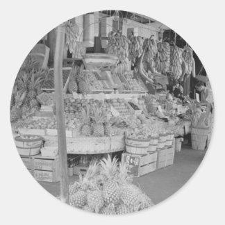 French Market Fruit Stand June 1936.jpg Classic Round Sticker