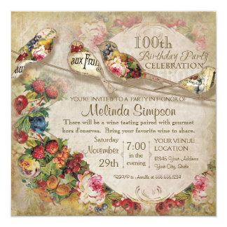 French Market Modern Vintage Birds Birthday Party 5.25x5.25 Square Paper Invitation Card