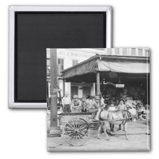 French Market, New Orleans, 1910 2 Inch Square Magnet