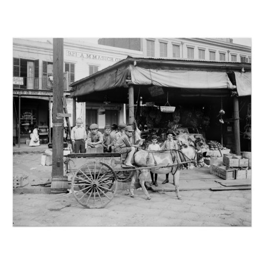 French Market, New Orleans: 1910 Poster