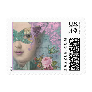 French Masquerade Small Postage Stamp