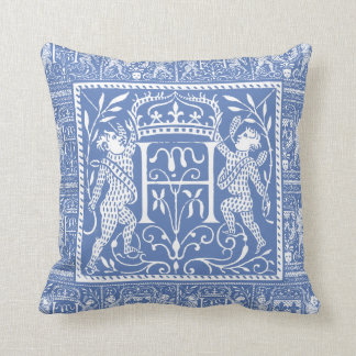 French Medieval Chateau Blue Letter H Pillow