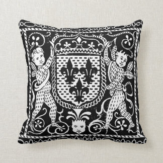 French Medieval Fleur de Lys Crest Throw Pillow