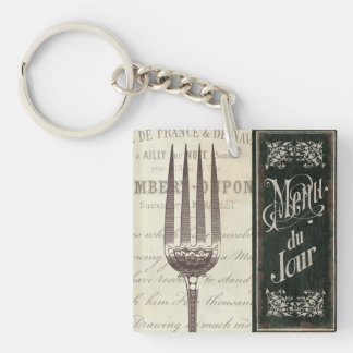 French Menu and Fork Double-Sided Square Acrylic Keychain