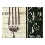 French Menu and Fork Postcard