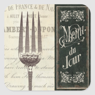 French Menu and Fork Square Sticker