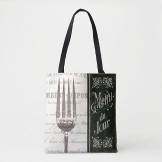 French Menu and Fork Tote Bag