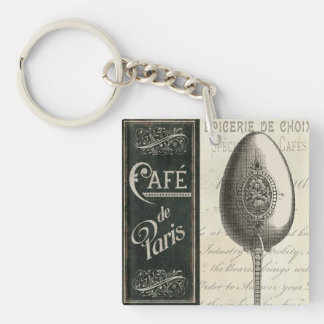 French Menu Double-Sided Square Acrylic Keychain