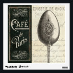 """French Menu Wall Sticker<br><div class=""""desc"""">&#169; Pela Studio / Wild Apple.  An image of a spoon with a menu on the side. There are words written on the tan colored background behind the spoon.</div>"""