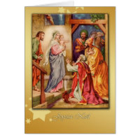 french merry christmas card, nativity card