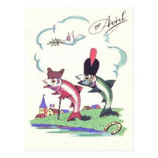 French Military Fish Horseshoe Dove Postcard