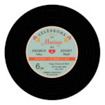 French Modern Retro Vinyl Record Coral Sky Wedding Personalized Invites