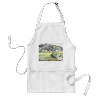 French Mountain Watercolor Adult Apron